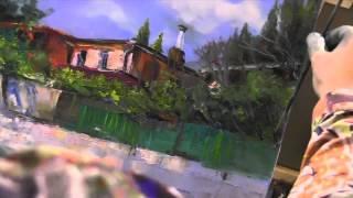 Красивый пейзаж.Художник  И.Сахаров.Уроки живописи