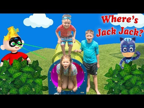 Incredibles 2 Hunt at the Pool for baby Jack Jack with Assistant and Batboy Ryan