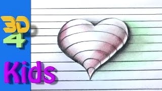 easy 3d ! draw 3D Heart on paper step by step very easy for kids