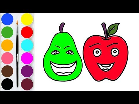 how-to-draw-apple-/-coloring-pages-&-painting-pear-/-learn-colors-with-fruits