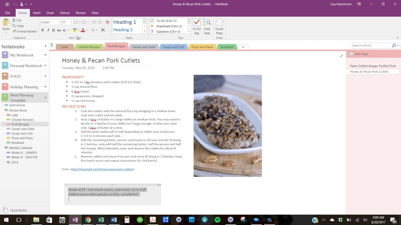 client onenote meal planning
