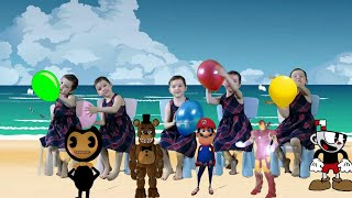 Five Little Babies Jumping on the Bed | Kids Song with Freddy, Bendy, Mario, Cuphead and Iron man