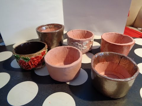 How to Make Pots from Terracotta Air Dry Clay (not actual flower pots, just showcase flower pots)