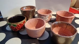air dry clay bonsai pot How to Make Pots from Terracotta Air Dry Clay (not actual flower