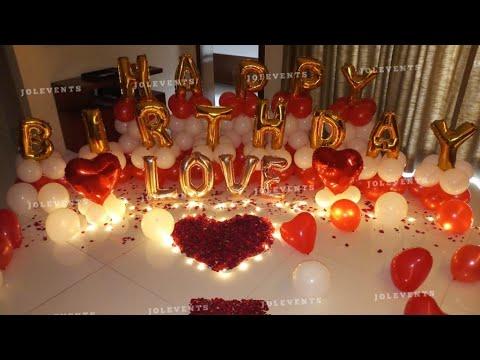 Birthday Surprise Room Decoration On Boyfriends Birthday Romantic Decoration Balloon Decoration Youtube