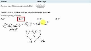 Egzamin ósmoklasisty. Zadanie 15. Potęgi w szkole podstawowej | MatFiz24.pl