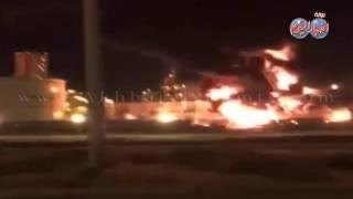 حريق هائل في مدينة الجبيل شرق المملكة العربية السعودية