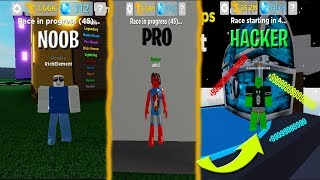ROBLOX NOOB VS PRO VS HACKER IN LEGENDS OF SPEED!