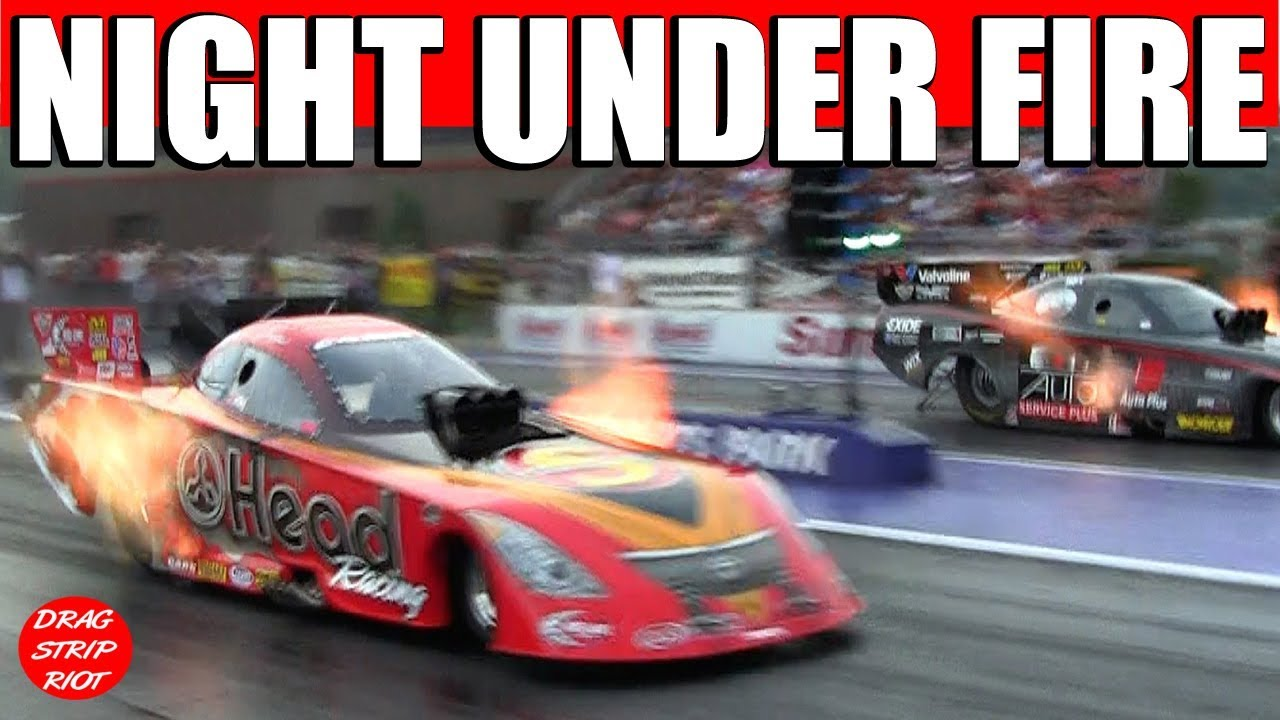2013 Night Under Fire Nitro Funny Cars Drag Racing John Force 1000 Feet Video