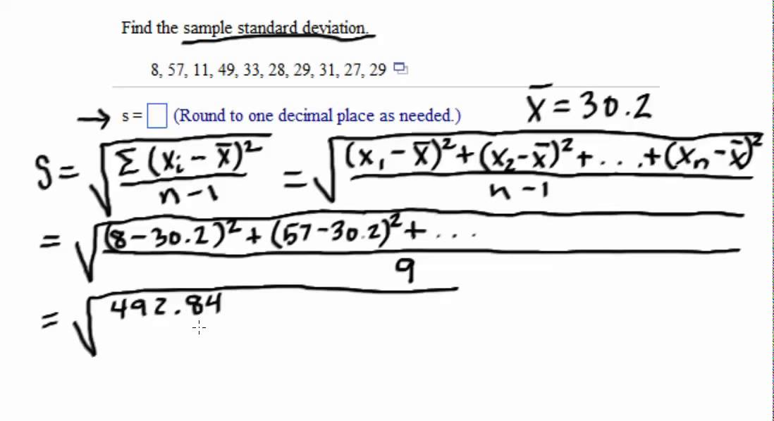 Sample and Population Standard Deviation Example - YouTube