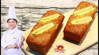 How to make banana custard cake/ Cách làm Bánh Bông Lan Chuối mềm xốp tại nhà
