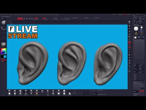 Ear Sculpting in REAL TIME - ZBrush Live Stream