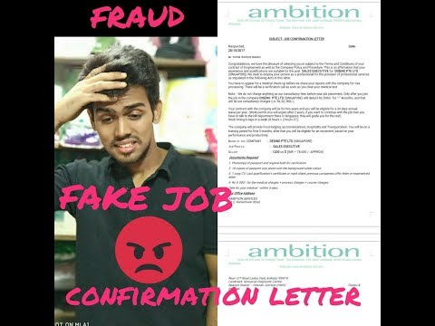 FAKE JOB CONFIRMATION LETTER FROM SINGAPORE