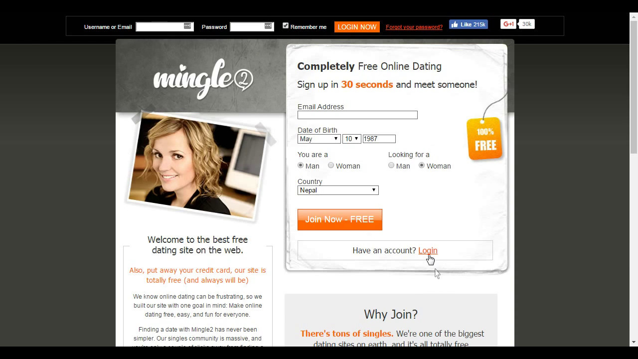Mingle2 login page