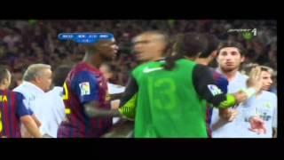 Fight - Fc Barcelona vs. Real Madrid Spanish Supercup Crazy Scenes 2011 HD