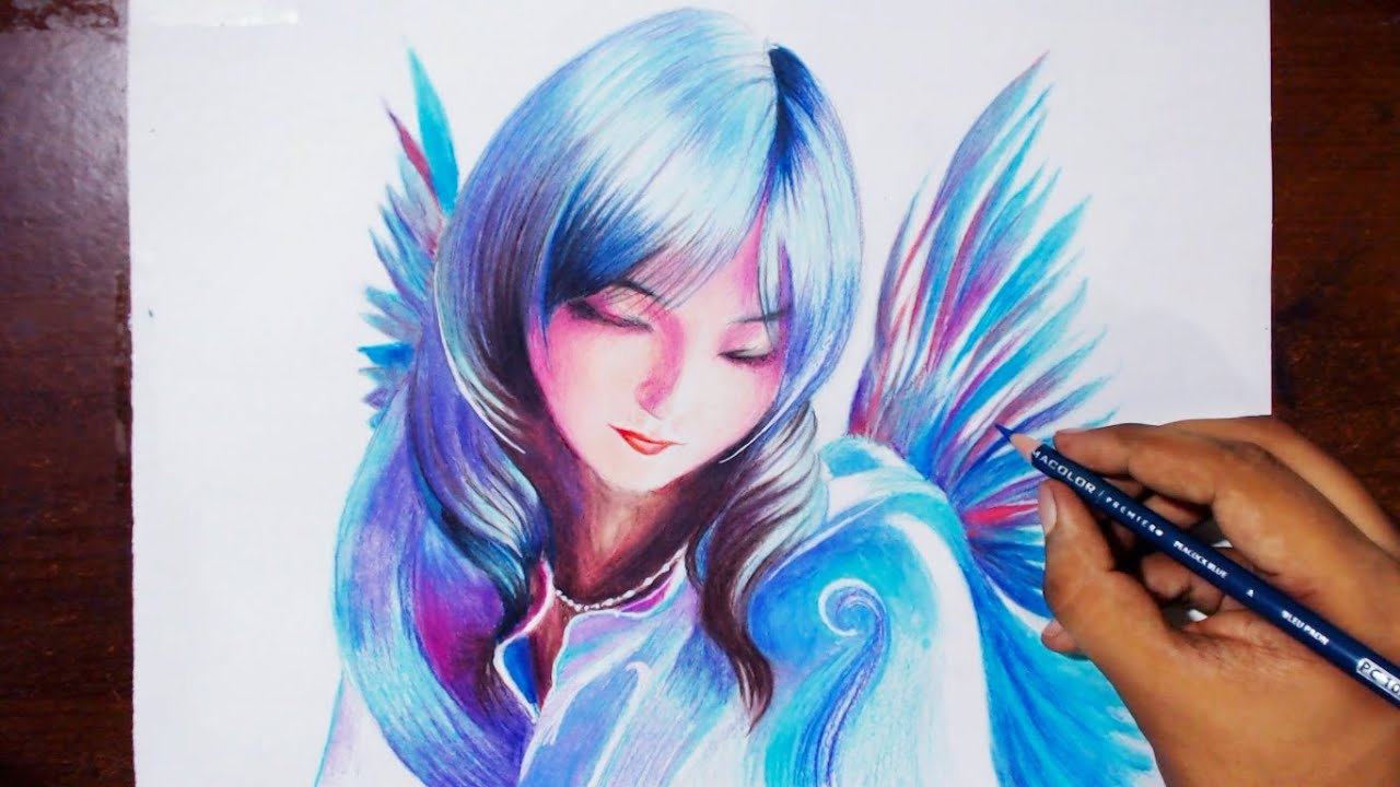 Drawing a bird fairy prismacolor pencils speed drawing