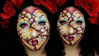 Broken Queen of Hearts Halloween Makeup Tutorial | Jordan Hanz
