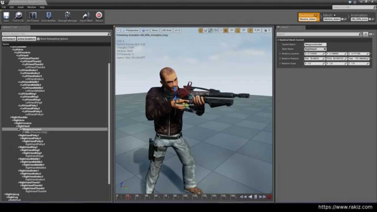 UE4 #5 Add rifle and create aim offset from AimSpace Animation