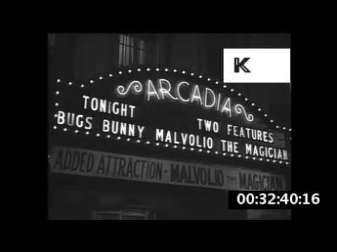 1930s, USA, Theatres And Cinemas At Night, The Gem, Arcadia, Roxie Street View