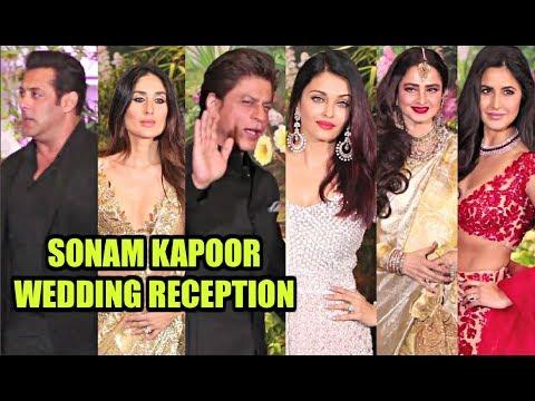 Sonam Kapoor Wedding Reception - Salman Khan, Kareena Kapoor, Shahrukh Khan, Aishwarya Rai, Rekha
