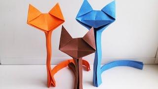 Поделки из бумаги - Как сделать оригами кошку(Бумага: цветная А4, 80 г/м²; Пропорции: делим лист А4 пополам; Автор: Richard Wang; Схема: Origami Cat; Источник: www.origamiks.com..., 2015-06-20T11:40:30.000Z)