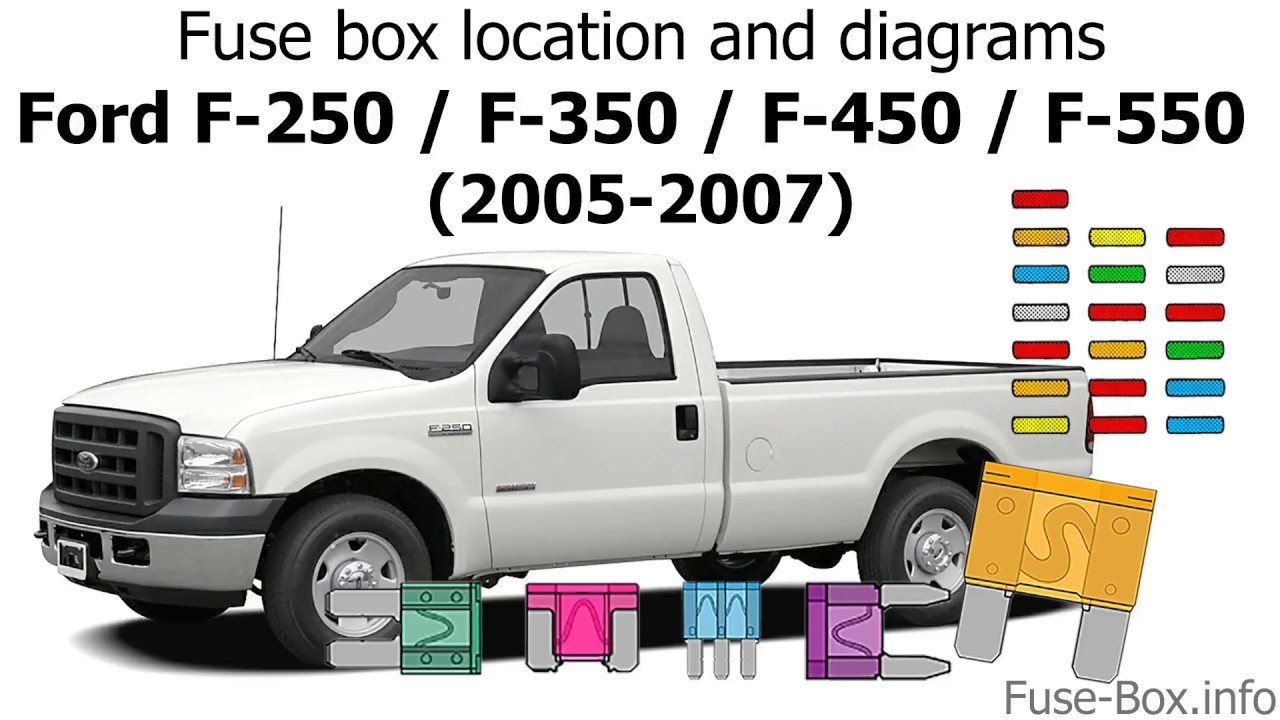 fuse box location and diagrams ford f series super duty 2005 2006 2008 ford f 450 fuse box diagram ford f 450 fuse panel diagram [ 1280 x 720 Pixel ]