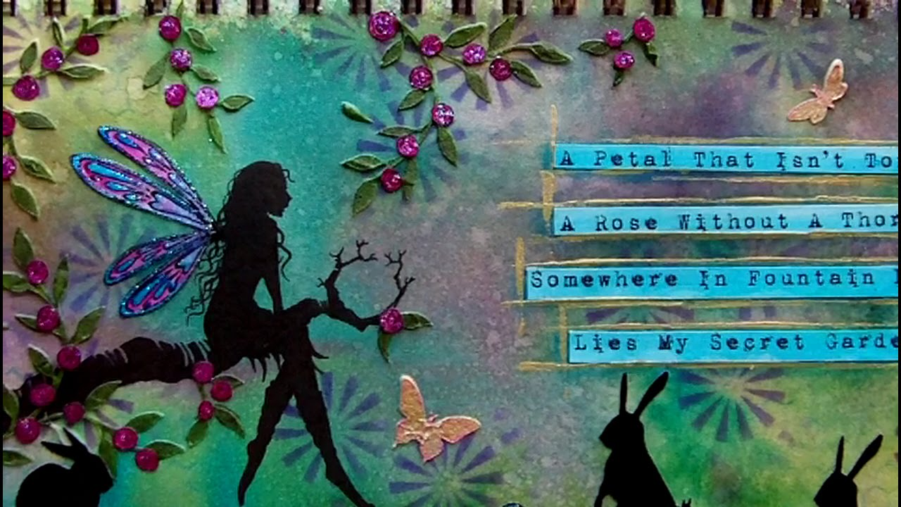 Mixed media art journal page secret garden youtube