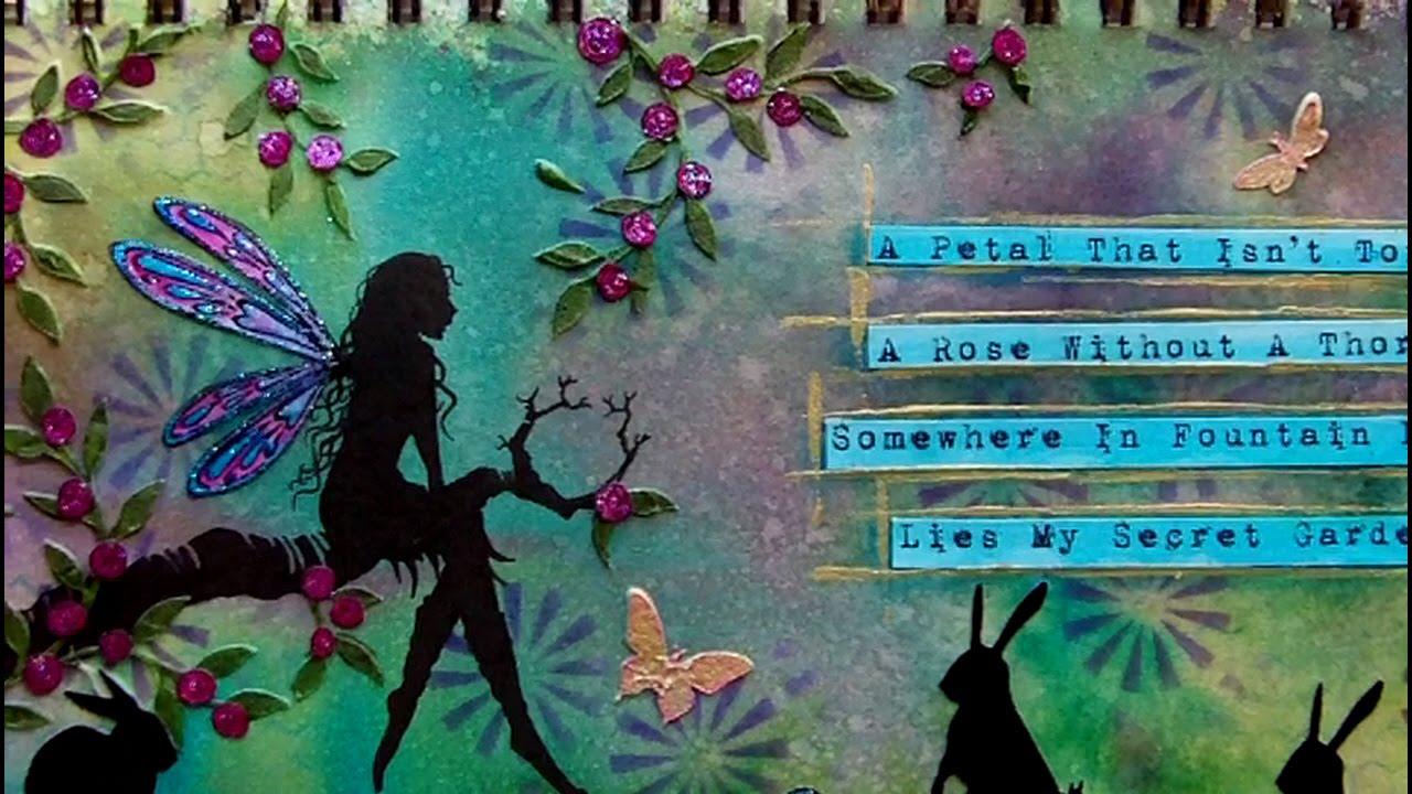 Mixed Media Art Journal Page Secret Garden YouTube