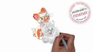 Как нарисовать двух разноцветных котят за 36 секунд