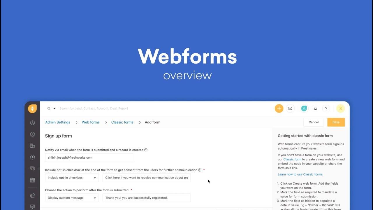 Webforms in Freshsales