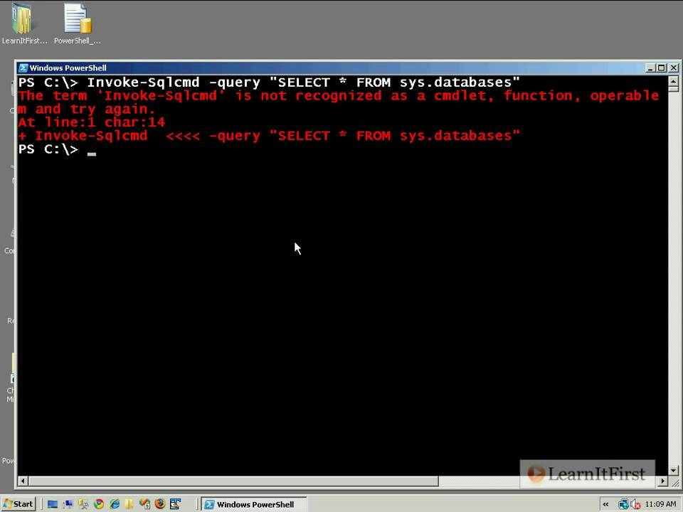 Using Powershell in SQL Server 2008 and Using sqls, part 1 - YouTube