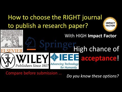How To Choose The RIGHT Journal To Publish Your Research Paper With High Chance Of Acceptance?