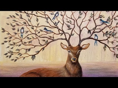 Learn to Paint a Fantasy Deer with Tree Branch Antlers FREE Step by Step Acrylic Painting Tutorial