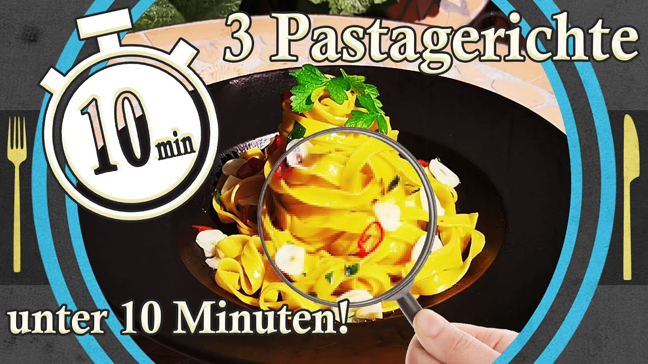 3 Pastagerichte unter 10 Minuten (oder in 5 mit schummeln) schnelle Pastagerichte selber machen