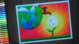 how to draw save water save earth poster st