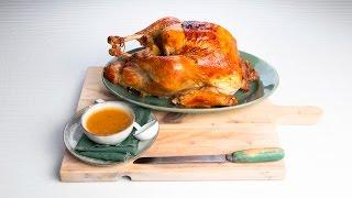 Apple-herb roast turkey with cider gravy