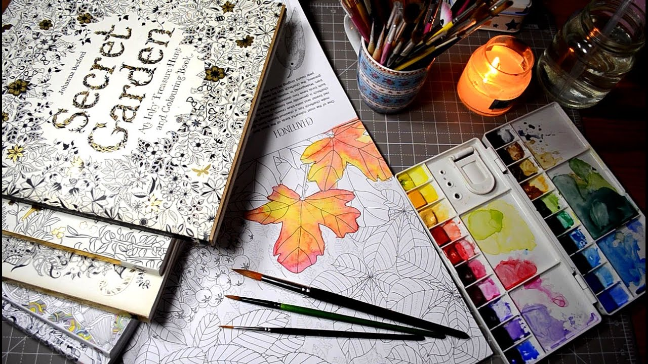 Testing Watercolors in Coloring Books | Secret Garden | Magical ...