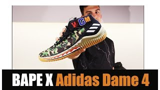 newest d7211 ef08d BAPE X Adidas Dame 4 ОБЗОР (Unboxing, Review  On-Feet) ...