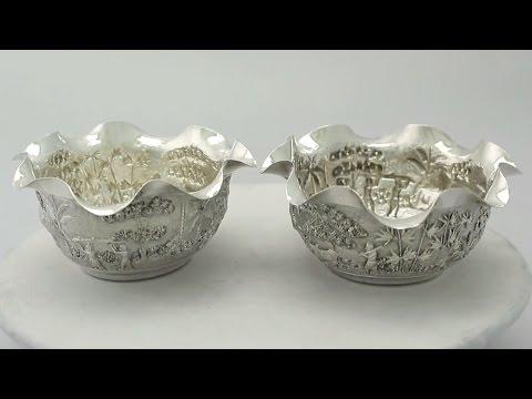Pair of Indian Silver Bowls - Antique Circa 1890 - AC Silver (A6364)