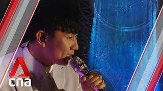 JJ Lin performs at Jewel Changi Airport's Rain Vortex