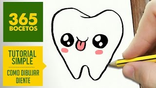 COMO DIBUJAR MUELA KAWAII PASO A PASO - Dibujos kawaii faciles - How to draw a tooth