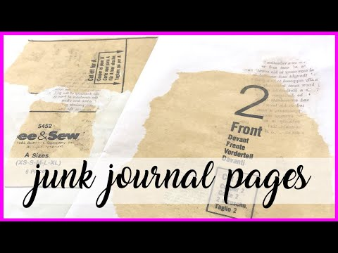 junk journal page background technique transfer book print to tea dyed paper