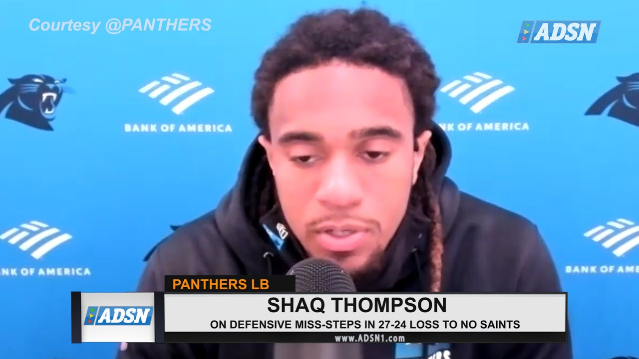 REACTION : Shaq Thompson responds after the Carolina Panthers 24-27 loss to the Saints