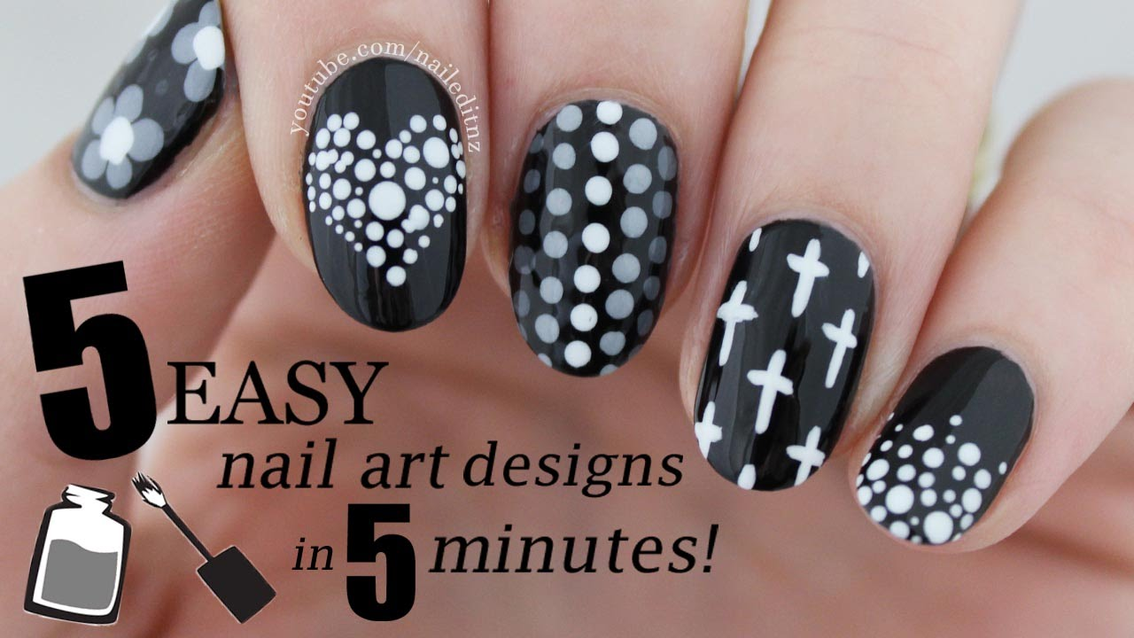 FIVE IN FIVE | Easy Black & White Nail Art Designs | Nailed It NZ - YouTube - FIVE IN FIVE Easy Black & White Nail Art Designs Nailed It NZ