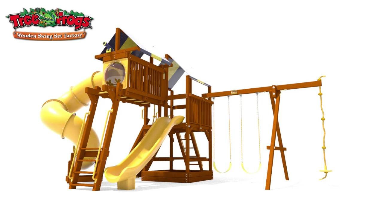 Tree Frogs Wooden Swing Set Factory 5 5 Bengal Fort Config 5 With