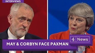 From youtube.com: Jeremy Paxman interviews Jeremy Corbyn and Theresa May Theresa May and Jeremy Corbyn face questions from Jeremy Paxman on the big issues of the 2017 General Election, hosted by Sky News and Channel 4. {MID-121348}