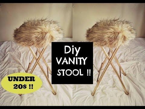 DIY faux fur vanity stool / UNDER 20$ ! - YouTube
