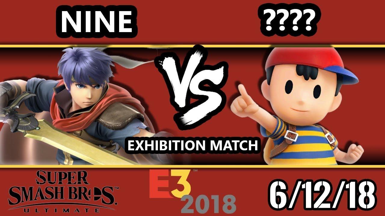 E3 2018 - SSBU Demo - Nine (Ike) Vs  ???? (Ness) Smash Bros