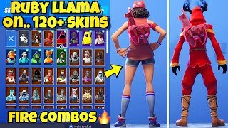 "NOUVEAU RUBY ""CRYSTAL LLAMA"" BACK BLING Showcased With 120'SKINS! Fortnite Battle Royale (RUBY LLAMA)"