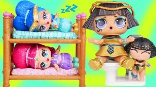 LOL Surprise Dolls Shimmer and shine + Lil Sisters Brush Teeth for School Morning Routine